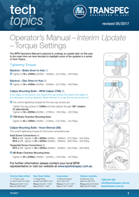 Operator's Manual - Interim Update - Torque Settings